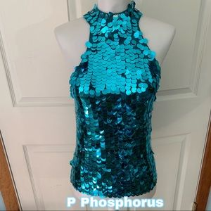 P Phosphorus size S Small silk blend sequins top